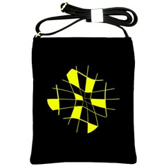 Yellow abstract flower Shoulder Sling Bags