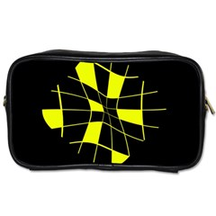 Yellow Abstract Flower Toiletries Bags 2 Side