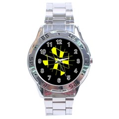Yellow abstract flower Stainless Steel Analogue Watch