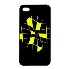 Yellow abstract flower Apple iPhone 4/4s Seamless Case (Black)