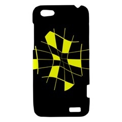 Yellow abstract flower HTC One V Hardshell Case