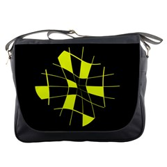 Yellow abstract flower Messenger Bags