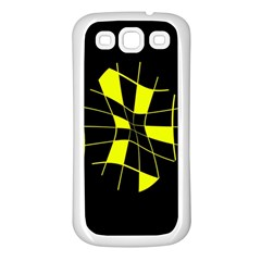Yellow abstract flower Samsung Galaxy S3 Back Case (White)