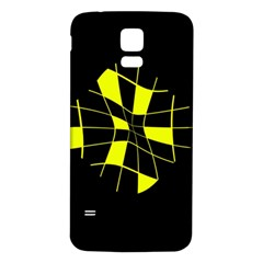 Yellow abstract flower Samsung Galaxy S5 Back Case (White)