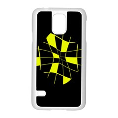 Yellow abstract flower Samsung Galaxy S5 Case (White)
