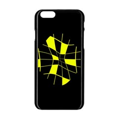 Yellow abstract flower Apple iPhone 6/6S Black Enamel Case