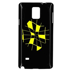Yellow abstract flower Samsung Galaxy Note 4 Case (Black)