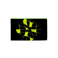Yellow abstract flower Cosmetic Bag (XS)