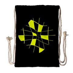 Yellow abstract flower Drawstring Bag (Large)