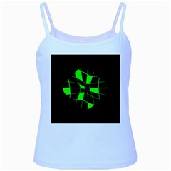 Green abstract flower Baby Blue Spaghetti Tank