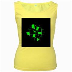 Green abstract flower Women s Yellow Tank Top