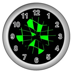 Green abstract flower Wall Clocks (Silver)