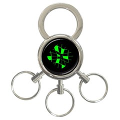 Green abstract flower 3-Ring Key Chains