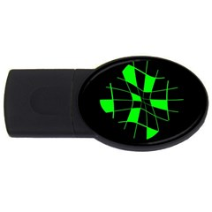 Green abstract flower USB Flash Drive Oval (1 GB)