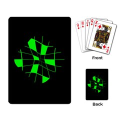 Green abstract flower Playing Card