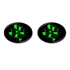 Green abstract flower Cufflinks (Oval)