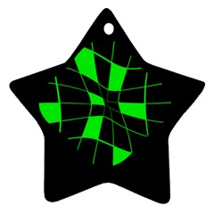 Green abstract flower Star Ornament (Two Sides)