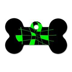 Green abstract flower Dog Tag Bone (One Side)