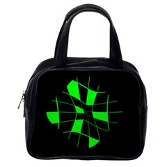 Green abstract flower Classic Handbags (One Side)
