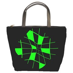Green abstract flower Bucket Bags