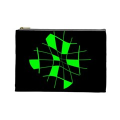 Green abstract flower Cosmetic Bag (Large)