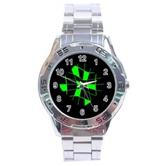 Green abstract flower Stainless Steel Analogue Watch