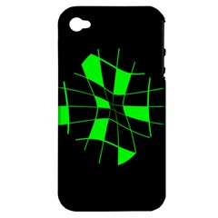 Green abstract flower Apple iPhone 4/4S Hardshell Case (PC+Silicone)