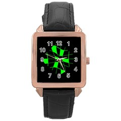 Green abstract flower Rose Gold Leather Watch
