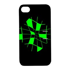Green abstract flower Apple iPhone 4/4S Hardshell Case with Stand