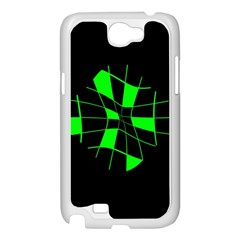 Green abstract flower Samsung Galaxy Note 2 Case (White)