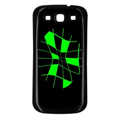 Green abstract flower Samsung Galaxy S3 Back Case (Black)
