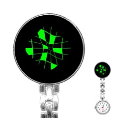 Green abstract flower Stainless Steel Nurses Watch