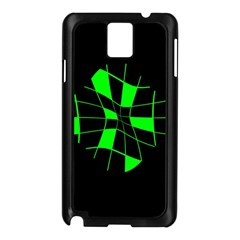 Green abstract flower Samsung Galaxy Note 3 N9005 Case (Black)