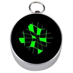 Green abstract flower Silver Compasses