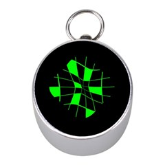 Green abstract flower Mini Silver Compasses