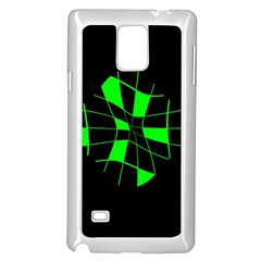 Green abstract flower Samsung Galaxy Note 4 Case (White)