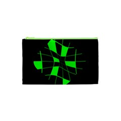 Green abstract flower Cosmetic Bag (XS)