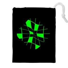 Green Abstract Flower Drawstring Pouches (xxl)