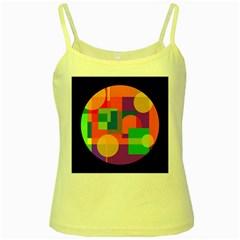 Colorful circle  Yellow Spaghetti Tank
