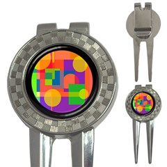 Colorful circle  3-in-1 Golf Divots