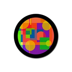 Colorful circle  Rubber Coaster (Round)
