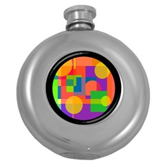 Colorful circle  Round Hip Flask (5 oz)