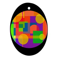 Colorful circle  Oval Ornament (Two Sides)