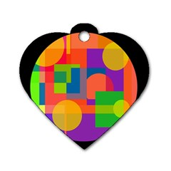 Colorful circle  Dog Tag Heart (One Side)