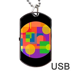 Colorful circle  Dog Tag USB Flash (One Side)