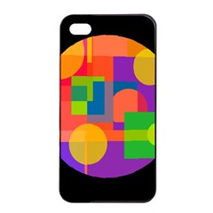 Colorful circle  Apple iPhone 4/4s Seamless Case (Black)
