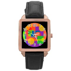Colorful circle  Rose Gold Leather Watch