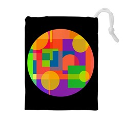 Colorful circle  Drawstring Pouches (Extra Large)