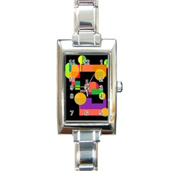 Colorful abstraction Rectangle Italian Charm Watch
