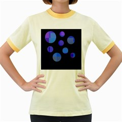 Blue circles  Women s Fitted Ringer T-Shirts